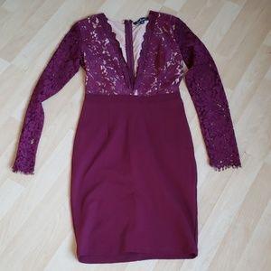 Lulu's V Neck Plunge Dress